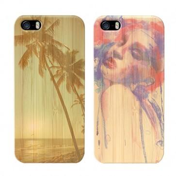 iPhone 5, 5S & SE - Coque Personnalisée en Bois de Bambou