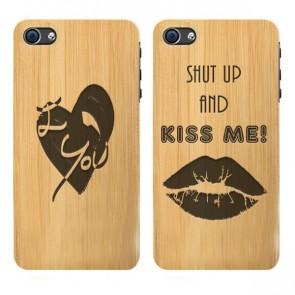 iPhone 6 & 6S - Coque personnalisée en bois de bambou - Design gravé