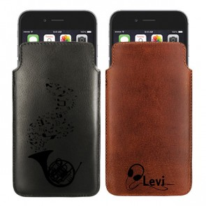Personalised Leather case - Brown or black - Size L