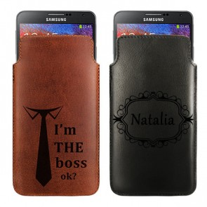 Personalised Leather case - Brown or black - Size M