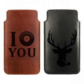 Personalised Leather case - Brown or black - Size XL