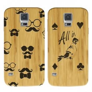 Samsung Galaxy S5 y S5 Neo - Funda personalizada de madera de bambú - Grabada