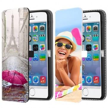 iPhone 5, 5S & SE - Coque Portefeuille Personnalisée (Sur L'avant)