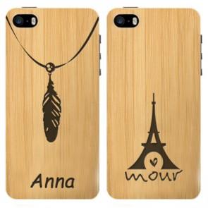 iPhone 5, 5S, SE - Coque personnalisée en bois de bambou - Design gravé