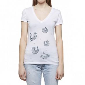 Femme - Col en V - T-Shirt Personnalisé