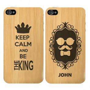 iPhone 4 & 4S - Handyhülle selbst gestalten - Holz Hülle - Graviert