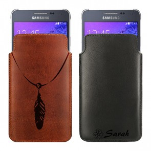 Personalised Leather case - Brown or Black - Size S