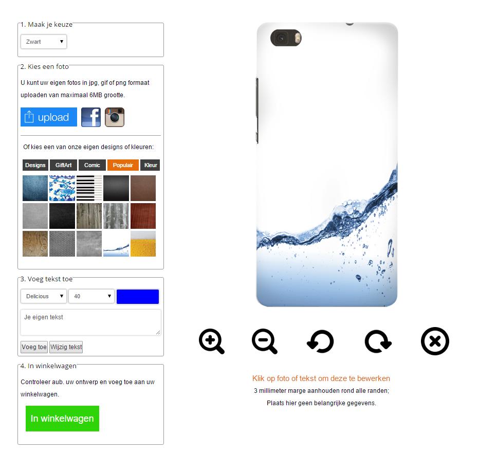 Huawei Ascend P8 Hardcase hoesje ontwerpen Zwart Wit of Transparant